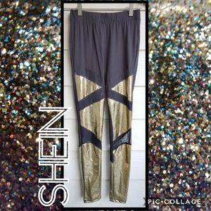 SHEIN Geometric Metallic Mesh Pattern Leggings